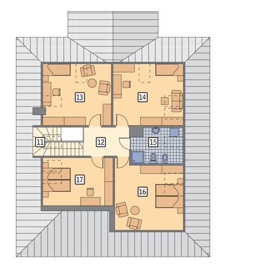 Rzut poddasza POW. 100,9 m²