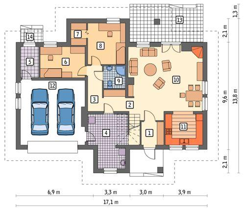 Rzut parteru POW. 143,6 m²
