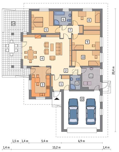 Rzut parteru POW. 184,6 m²