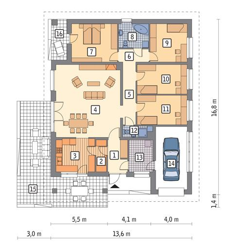 Rzut parteru POW. 158,6 m²