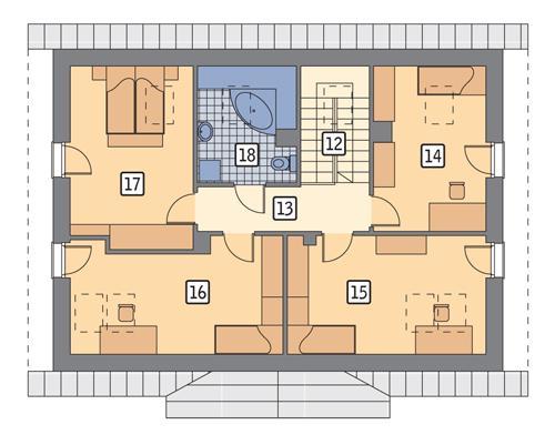 Rzut poddasza POW. 89,7 m²