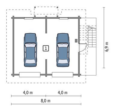 RZUT PARTERU POW. 46,3 m²